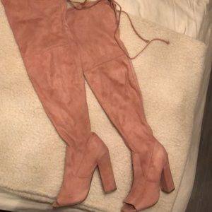 Faux suede Thigh high Pink Boots - Open Toe